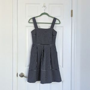 Banana Republic Navy Stripe Fit-and-Flare Dress